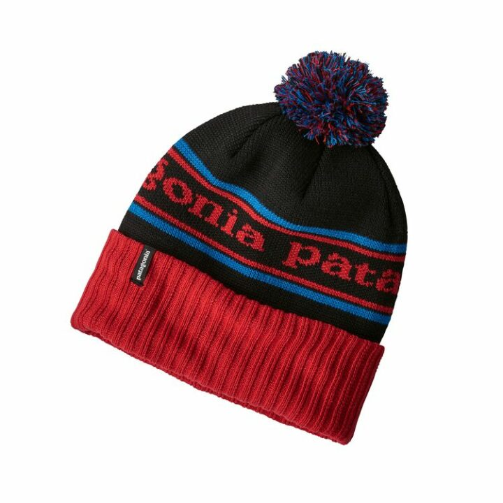 Patagonia Powder Town Beanie Park Stripe: Tomato / Black - monkshop