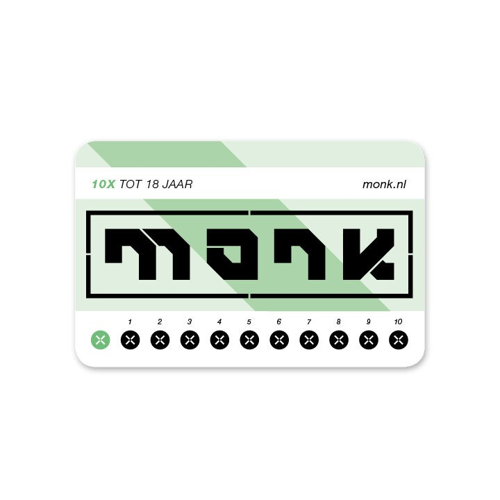 Monk Ticket Strippenkaart Tot 18 - Monkshop