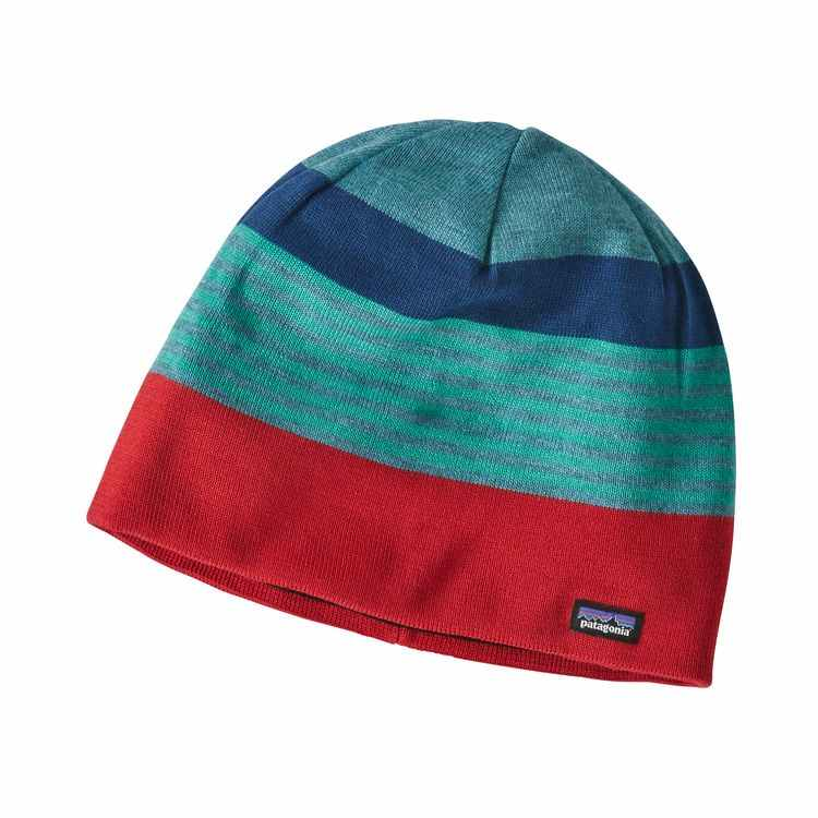 Patagonia Beanie Hat Fitz Roy Stripe Tomato - monkshop