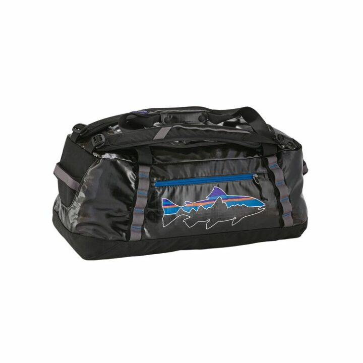 Patagonia Black Hole Duffel 60L Black With Fitz Roy Trout - monkshop