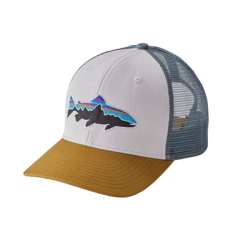 Patagonia Fitz Roy Trout Trucker Hat White - Monkshop