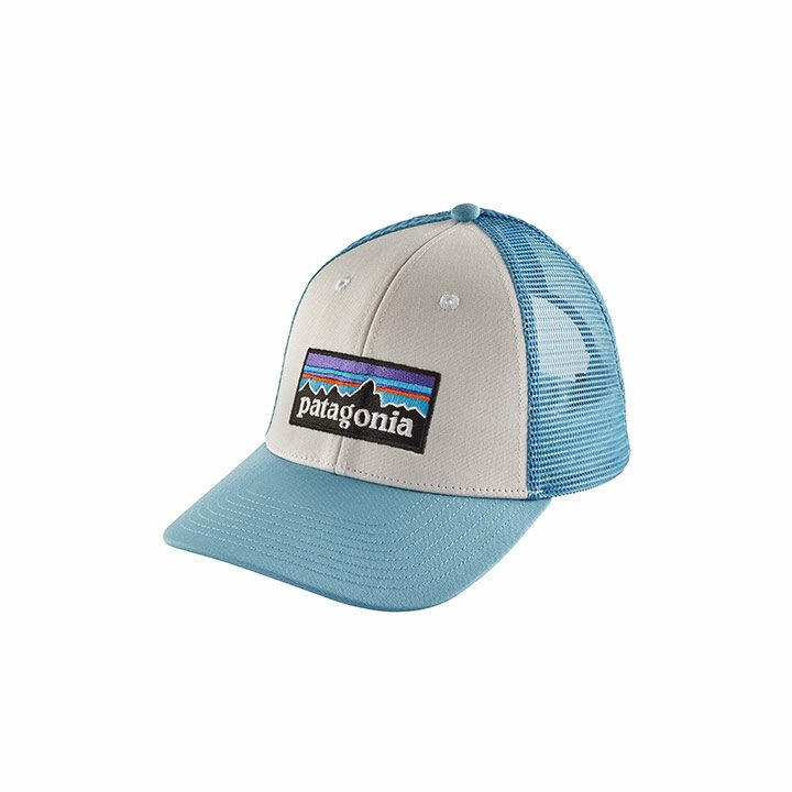 Patagonia P-6 Logo LoPro Trucker Pet White w/ Break Up Blue - Monkshop