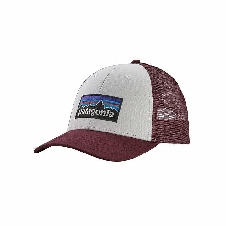 Patagonia P-6 Logo LoPro Trucker Pet White With Dark Ruby - Monkshop