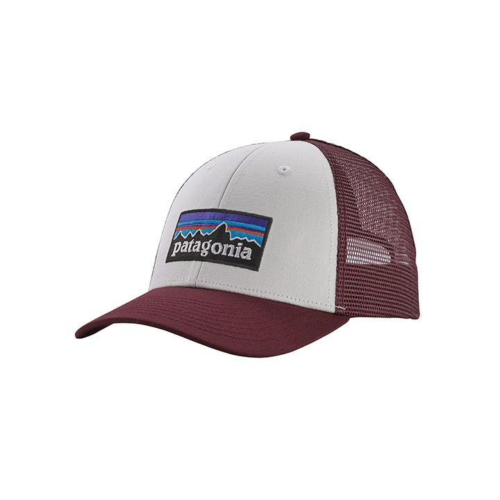 Patagonia P-6 Logo LoPro Trucker Pet White With Dark Ruby - Monkshop