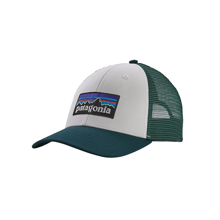 Patagonia P-6 Logo LoPro Trucker Pet White With Piki Green - Monkshop