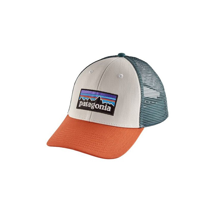 Patagonia P-6 Logo LoPro Tucker Pet White w/ Sunset Orange - Monkshop