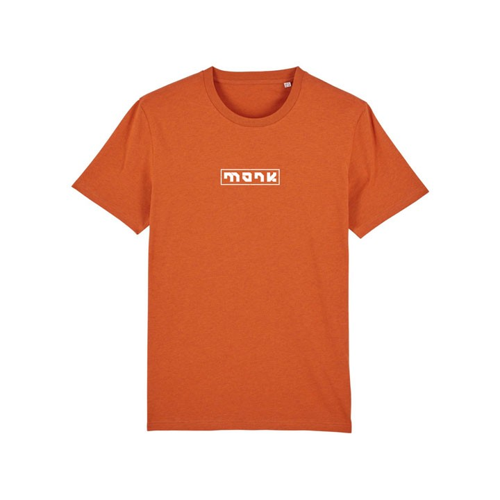 Monk Logo Unisex T-Shirt Black Heather Orange - Monkshop