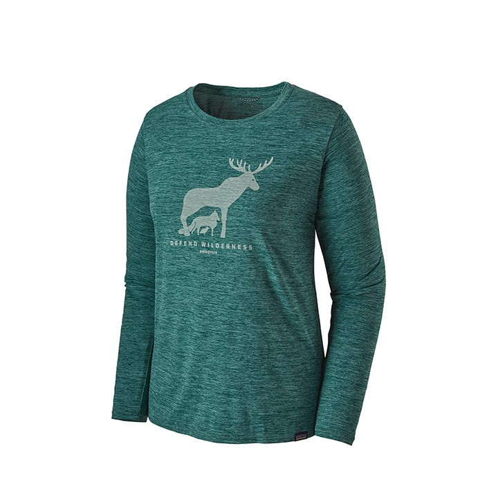 Patagonia Capilene Cool Daily Graphic Dames Longsleeve Defend Wilderness: Piki Green X-Dye - Monkshop