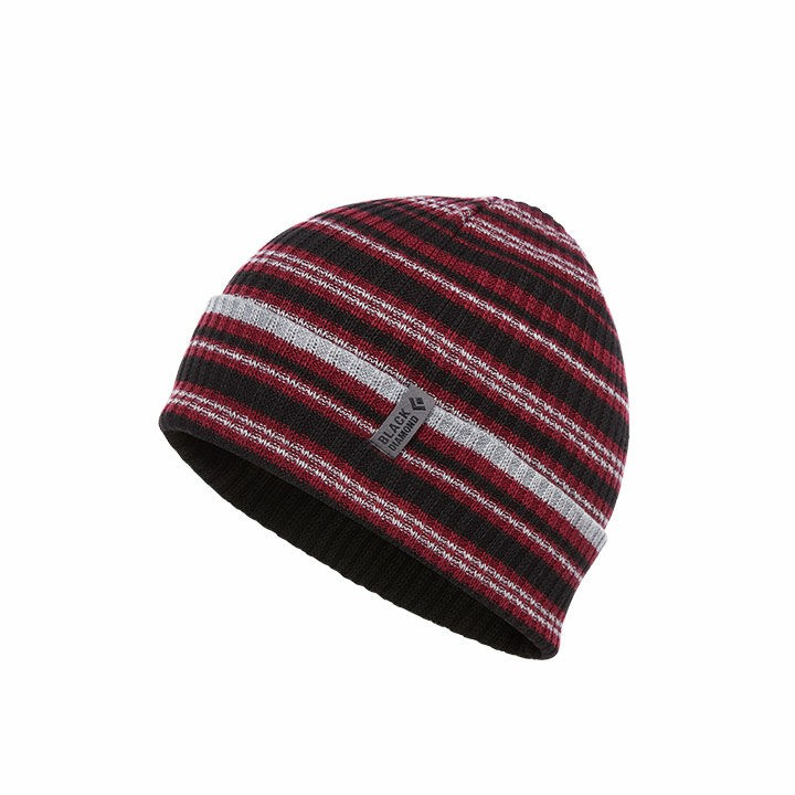 Black Diamond Cardiff Beanie Bordeaux-Grey Stripe - Monkshop