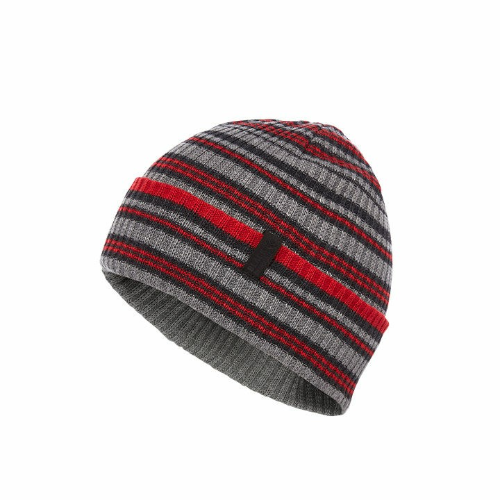 Black Diamond Cardiff Beanie Smoke-Hyper Red Stripe - Monkshop