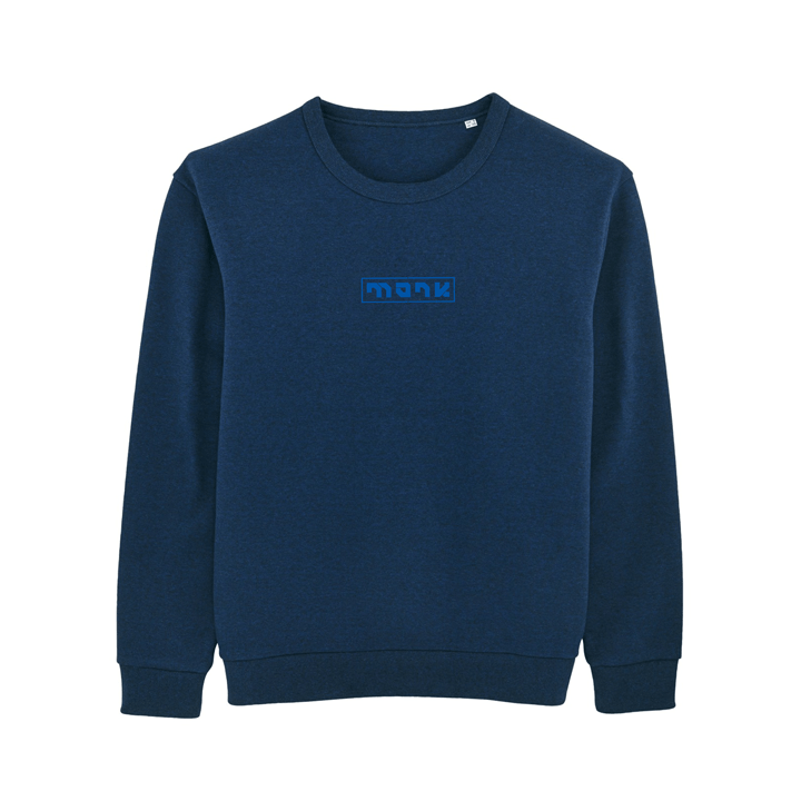 Monk Logo Unisex Trui Relaxed Fit Black Heather Blue - Monkshop