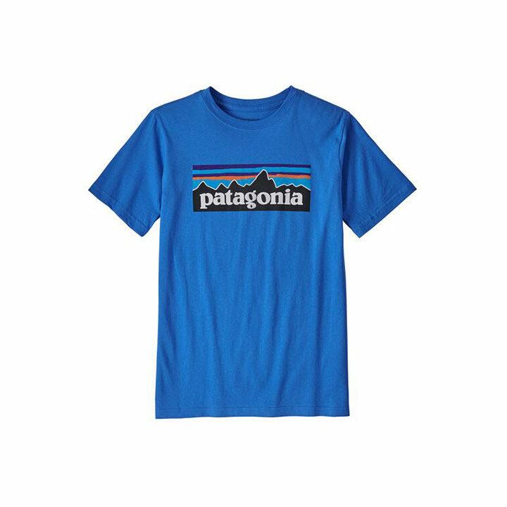 Patagonia P-6 Logo Organic Kinder T-Shirt Bayou Blue - Monkshop