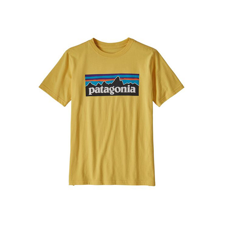 Patagonia P-6 Logo Organic Kinder T-Shirt Surfboard Yellow - Monkshop