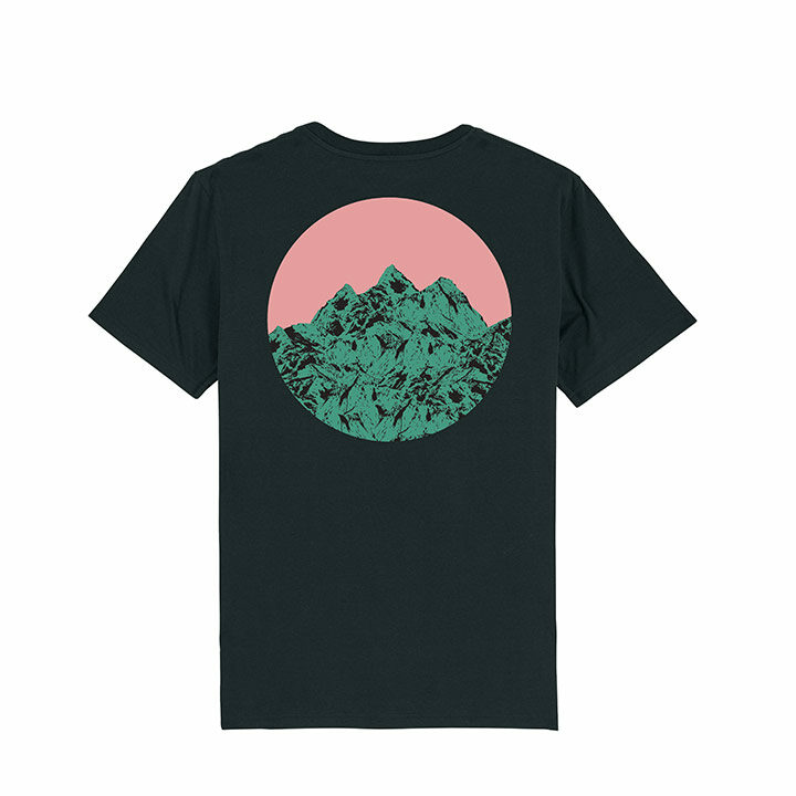 Vleeshaak Mountain Peak Unisex T-Shirt Black - Monkshop