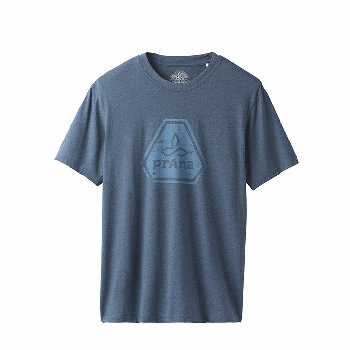 Prana Icon Heren T-Shirt Denim Heather - Monkshop