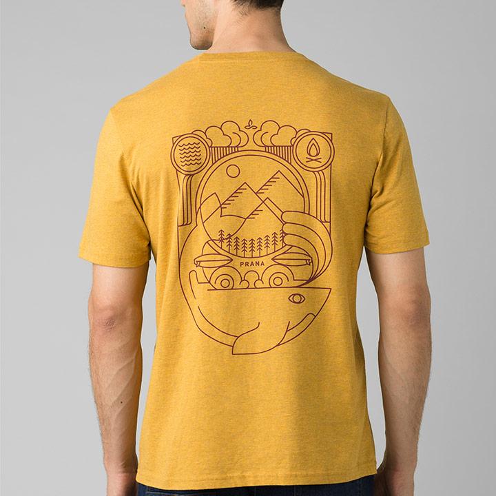 Prana Weekend Wander Heren T-Shirt Marigold Heather - Monkshop