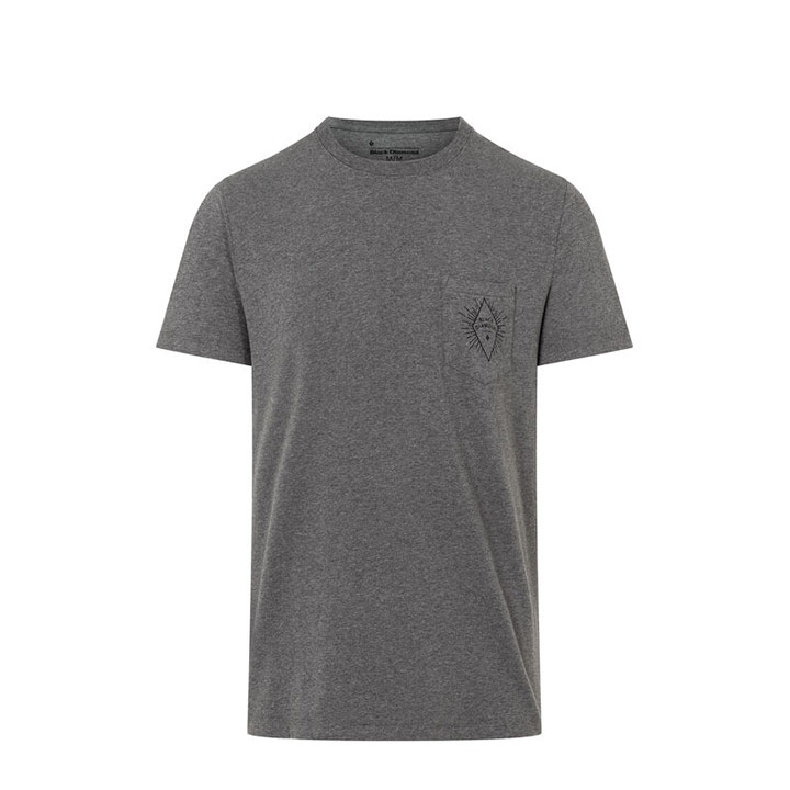 Black Diamond BD Rays Pocket Heren T-Shirt Charcoal Heather - Monkshop