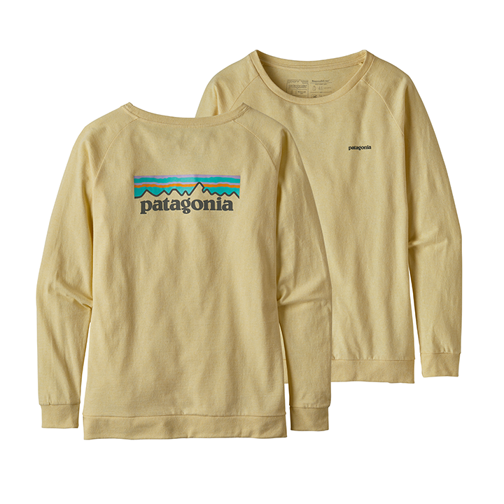 Patagonia Pastel P-6 Logo Responsibili­-Tee Dames Longsleeve Resin Yellow - Monkshop