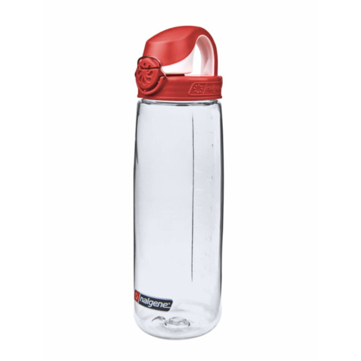 Nalgene On The Fly 750ml Drinkfles Clear w/ Fire Red Cap - Monkshop