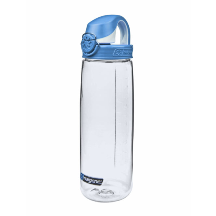 Nalgene On The Fly 750ml Drinkfles Clear w/ Seaport Blue Cap - Monkshop