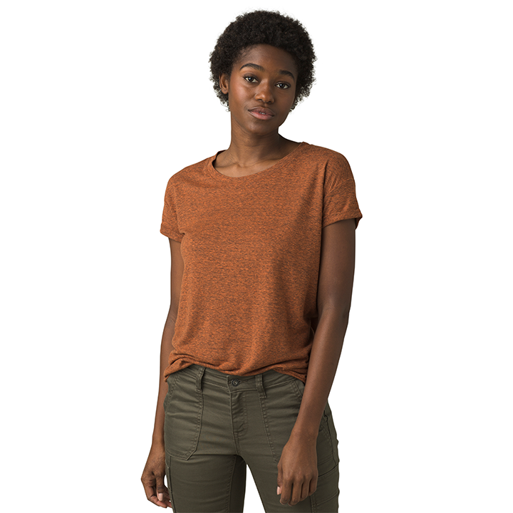 Prana Cozy Up Dames T-Shirt Cedar Heather - Monkshop