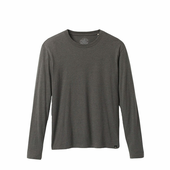 Prana Crew Heren Longsleeve Charcoal Heather - Monkshop