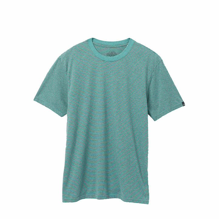 Prana Crew Heren T-Shirt Azurite Stripe - Monkshop