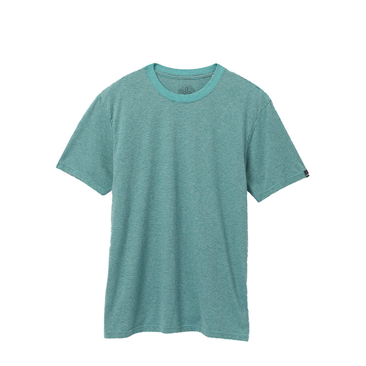 Prana Crew Heren T-Shirt Azurite Stripe - Monkshop