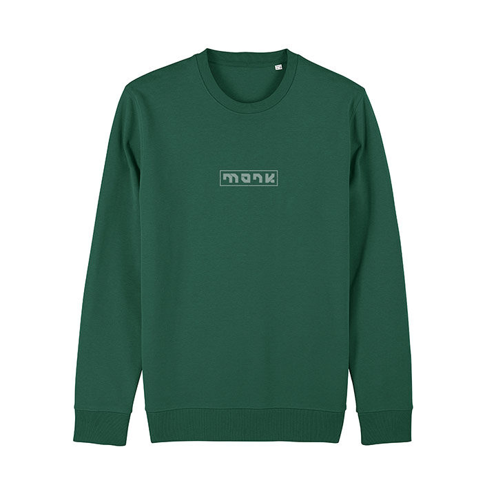 Monk Logo Unisex Trui Relaxed Fit Bottle Green - Monkshop