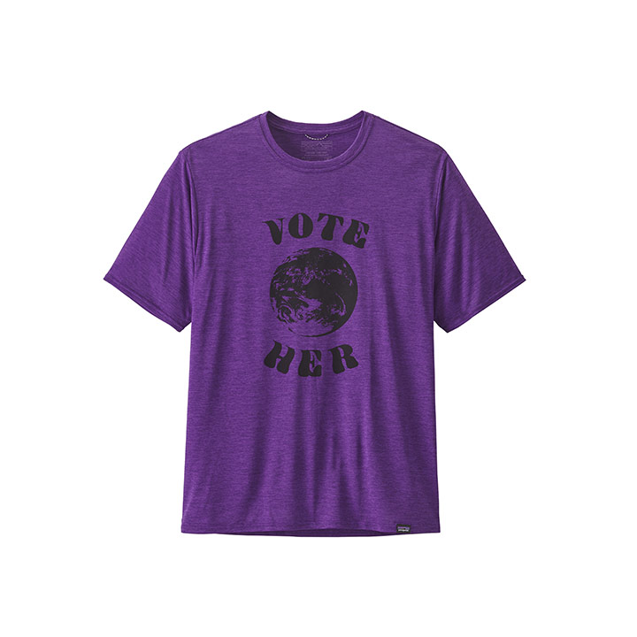 Patagonia Capilene Cool Daily Graphic Heren T-Shirt Vote Her Purple X-Dye - Monkshop