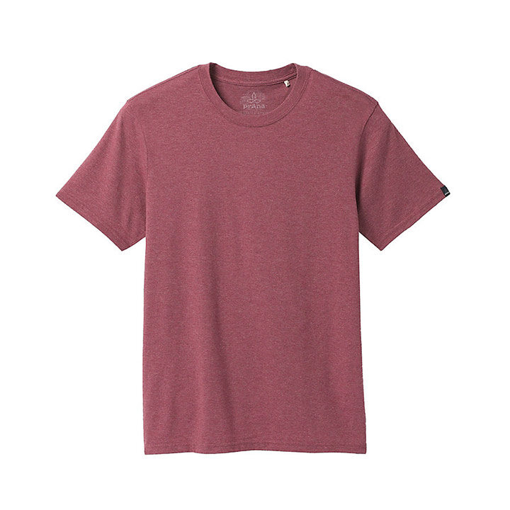 Prana Crew Heren T-shirt Rosewood Heather - Monkshop