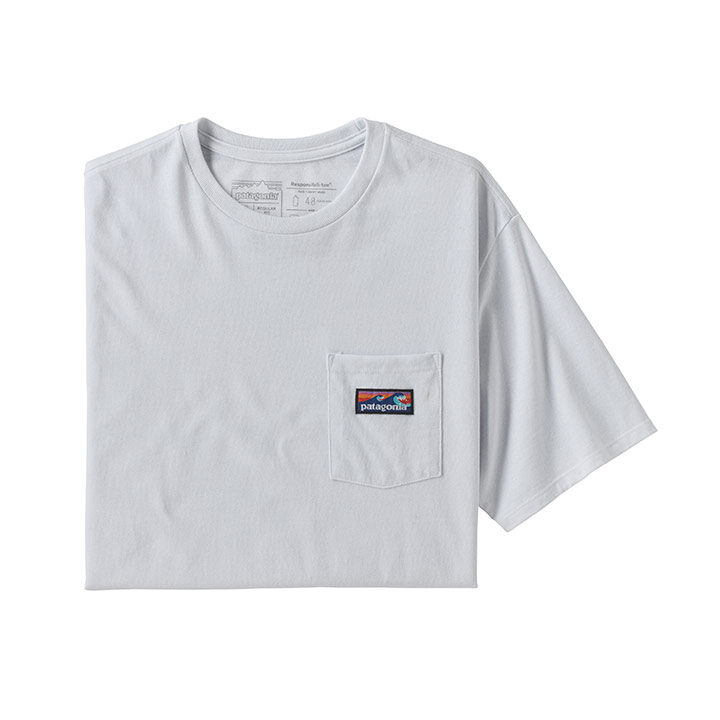 Patagonia Boardshort Label Pocket Responsibili-tee Heren T-Shirt White - Monkshop