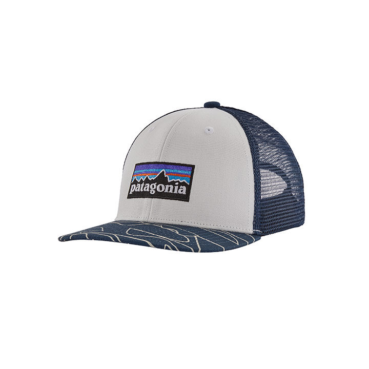 Patagonia Kinder Trucker Pet P-6 Logo White w/ Bartolome Small Stone Blue - Monkshop