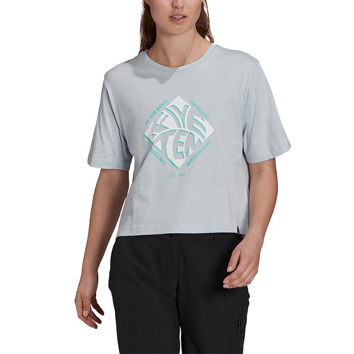 Adidas 5.10 Cropped GFX Dames T-Shirt Halo Blue - Monkshop