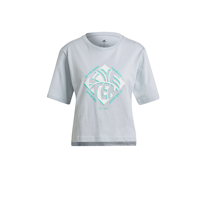 Adidas 5.10 Cropped GFX Dames T-Shirt Halo Blue - Monkshop