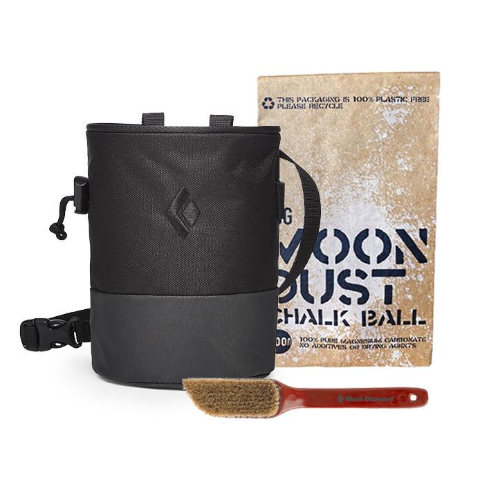 Black Diamond Mojo Zip Pofzak Black + Medium Borstel + Moon Dust Pofbal - Monkshop