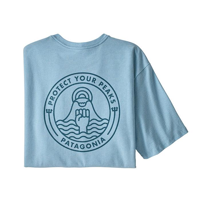 Patagonia Peak Protector Badge Responsibili-Tee Heren T-Shirt Fin Blue - Monkshop