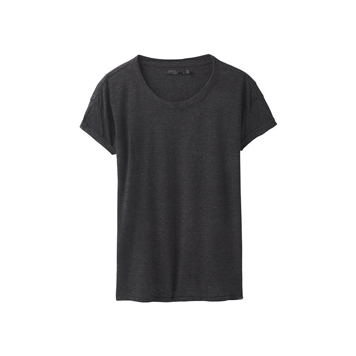 Prana Cozy Up Dames T-Shirt Charcoal Heather - Monkshop
