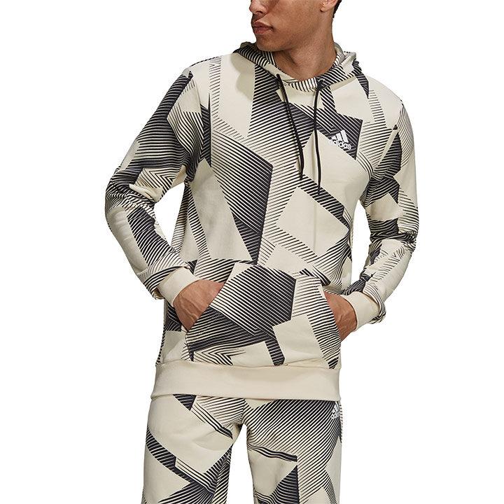 Adidas Sportswear Three Bar Graphics Heren Hoodie Wonder White - Monkshop