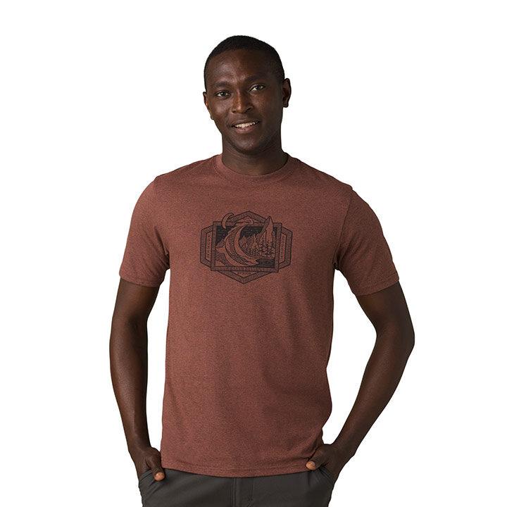 Prana Clay Cliffs Heren T-Shirt Clove Heather - Monkshop