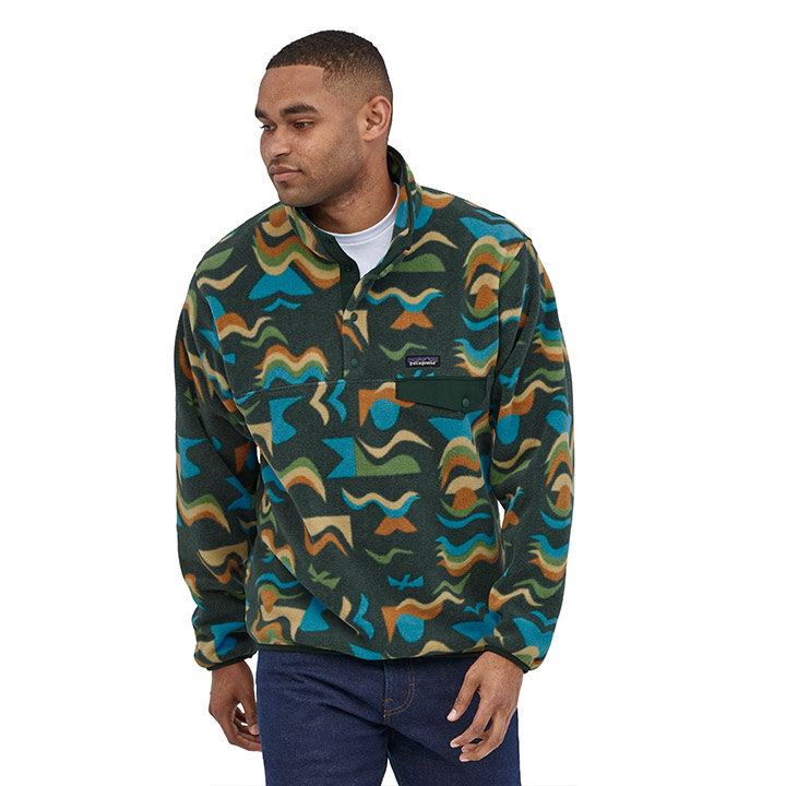 Patagonia Light Weight Synchilla Snap-T Heren Pullover Arctic Collage Northern Green - Monkshop